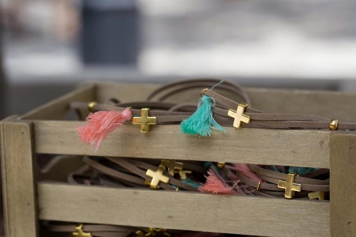 Cross & Tassel Bracelet Favors from a Rustic Woodland Baptism on Kara's Party Ideas | KarasPartyIdeas.com (27)