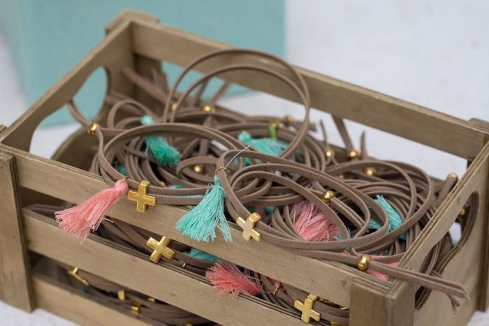Cross & Tassel Bracelet Favors from a Rustic Woodland Baptism on Kara's Party Ideas | KarasPartyIdeas.com (25)