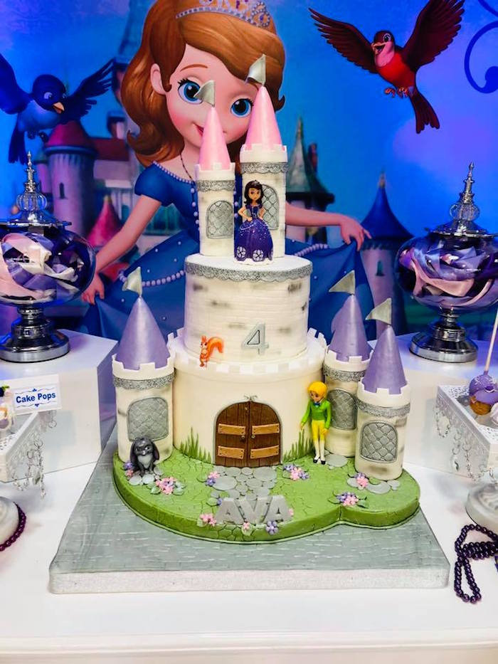 Sofia the First Themed Castle Cake from a Sofia the First Inspired Princess Party on Kara's Party Ideas | KarasPartyIdeas.com (11)