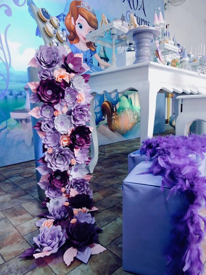 Paper Flower Installation from a Sofia the First Inspired Princess Party on Kara's Party Ideas | KarasPartyIdeas.com (10)