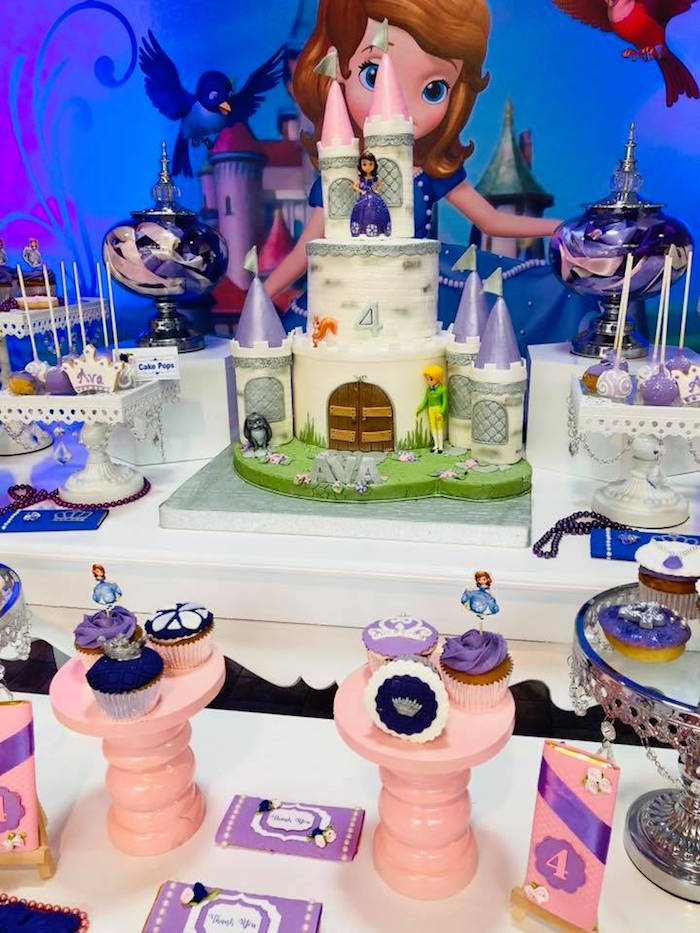 Cake Table from a Sofia the First Inspired Princess Party on Kara's Party Ideas | KarasPartyIdeas.com (5)