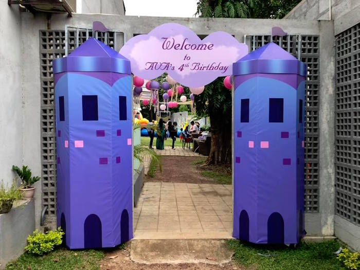 Castle Tower Entrance from a Sofia the First Inspired Princess Party on Kara's Party Ideas | KarasPartyIdeas.com (3)