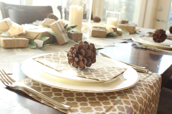 Pinecone-adorned Table Setting from a Sound of Music Inspired 16th Birthday Party on Kara's Party Ideas | KarasPartyIdeas.com (17)