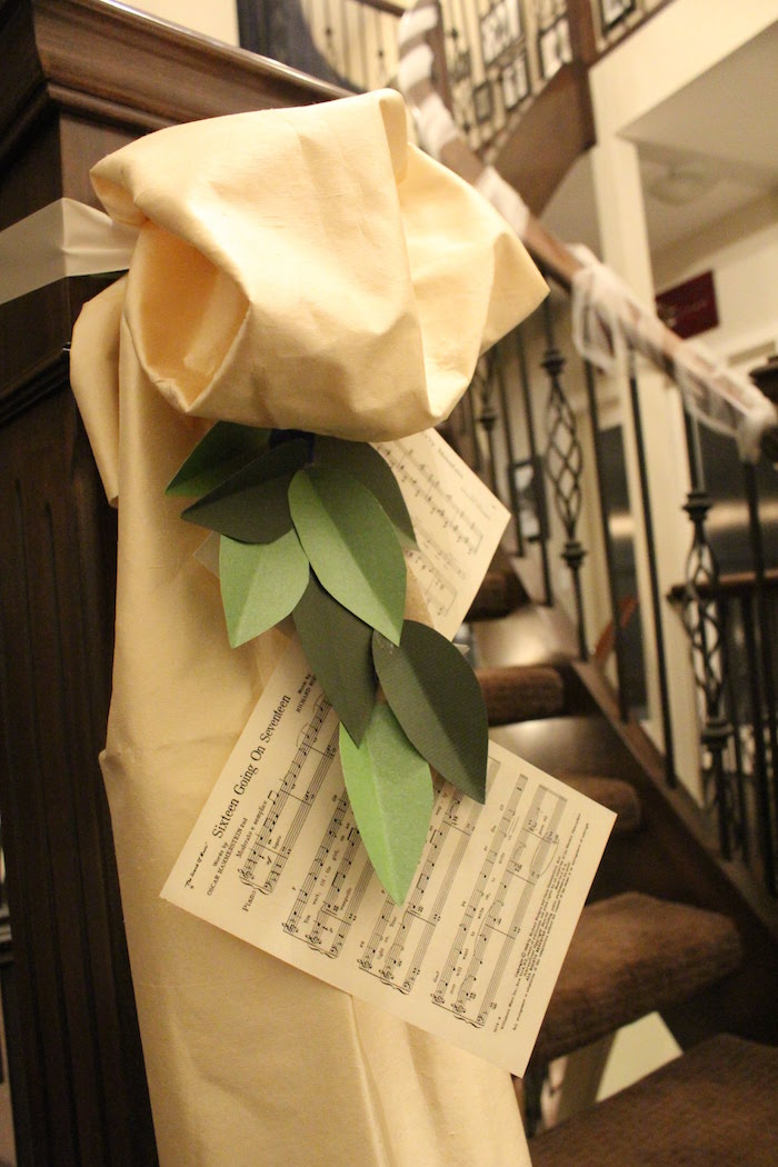 Sheet Music Stair Banister from a Sound of Music Inspired 16th Birthday Party on Kara's Party Ideas | KarasPartyIdeas.com (21)