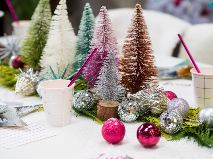 Colored Pine Tree & Ornament Table Decorations from a Sparkle & Shine Christmas Party on Kara's Party Ideas | KarasPartyIdeas.com (32)