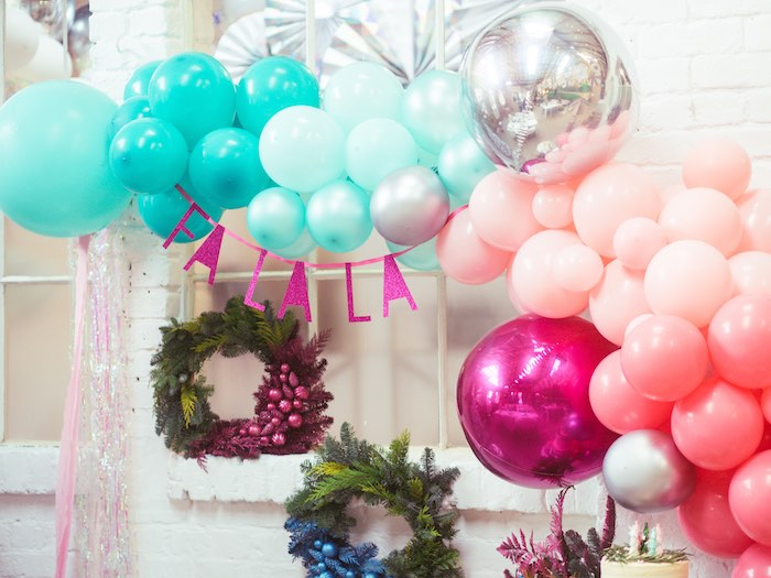 Fa La La Balloon Garland from a Sparkle & Shine Christmas Party on Kara's Party Ideas | KarasPartyIdeas.com (28)