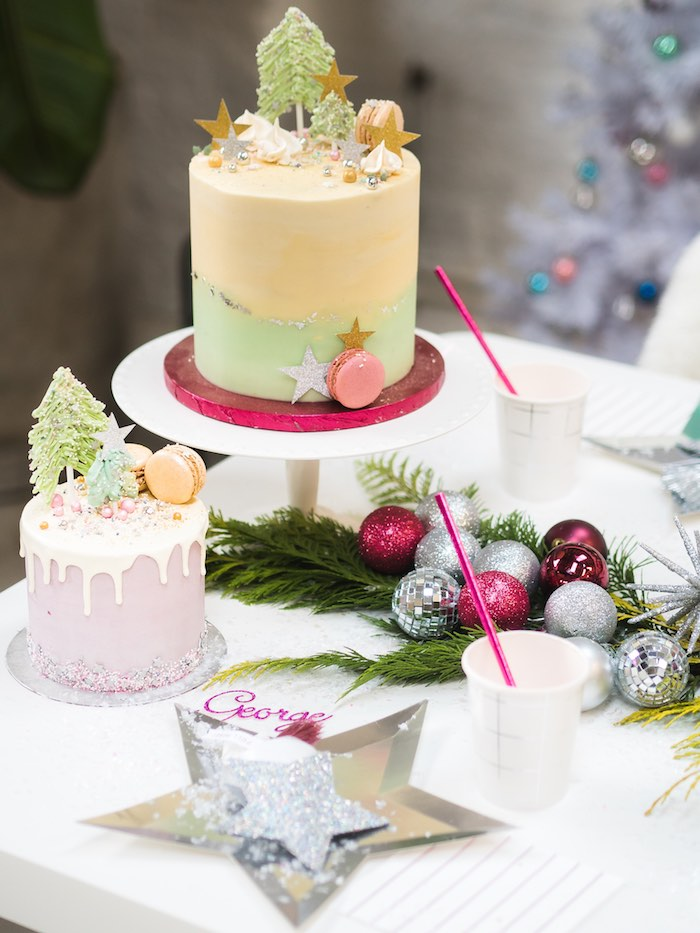 Holiday Cakes from a Sparkle & Shine Christmas Party on Kara's Party Ideas | KarasPartyIdeas.com (20)