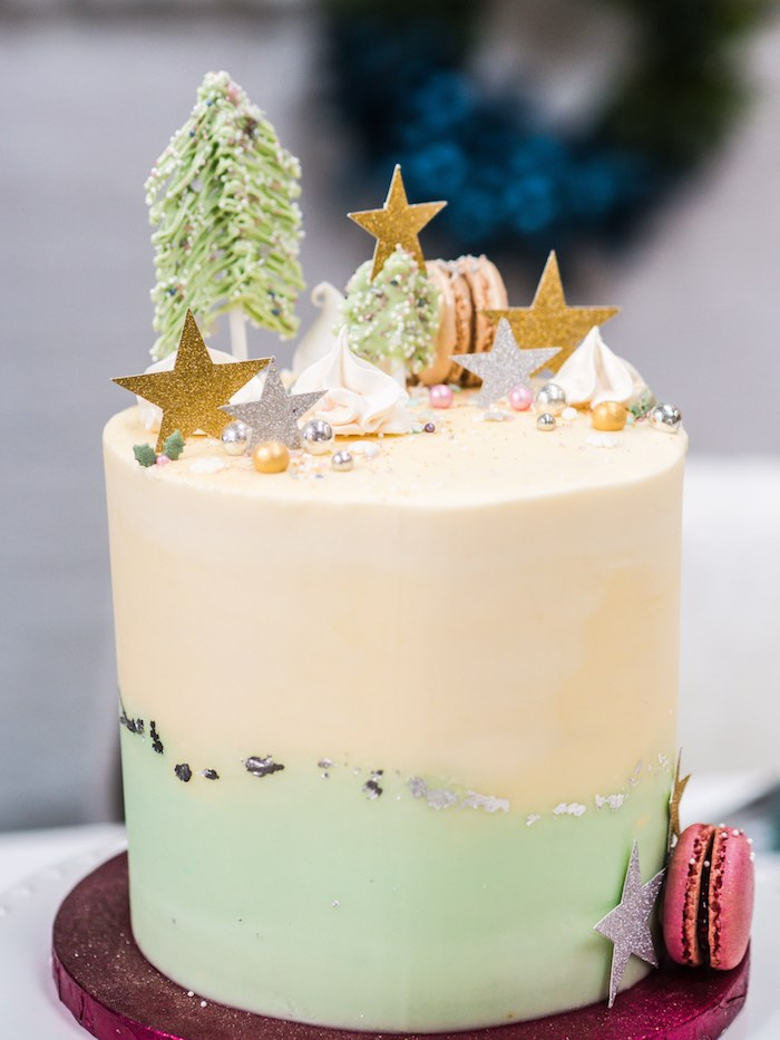 White & Green Glam Holiday Cake from a Sparkle & Shine Christmas Party on Kara's Party Ideas | KarasPartyIdeas.com (39)