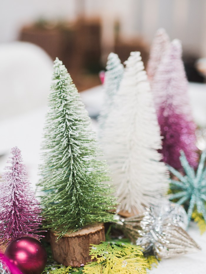 Winter Tree Table Decorations from a Sparkle & Shine Christmas Party on Kara's Party Ideas | KarasPartyIdeas.com (38)