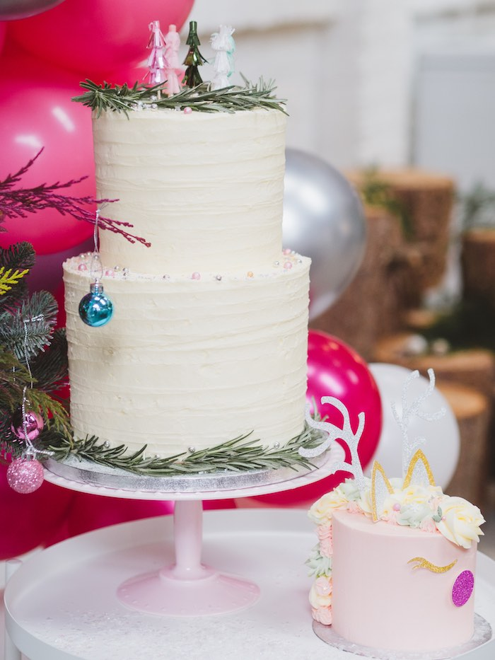 Pine Needle-adorned Cake from a Sparkle & Shine Christmas Party on Kara's Party Ideas | KarasPartyIdeas.com (37)