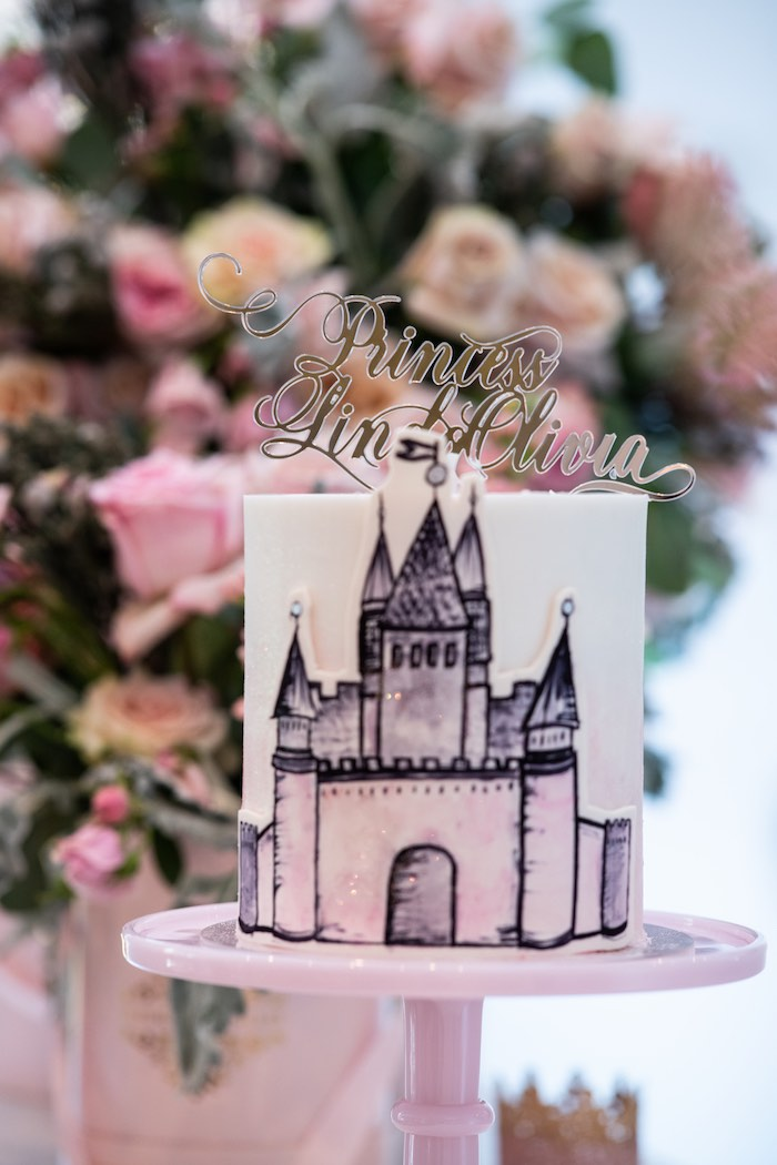 Princess Castle Cake from a Sweet Princess Birthday Party on Kara's Party Ideas | KarasPartyIdeas.com (4)