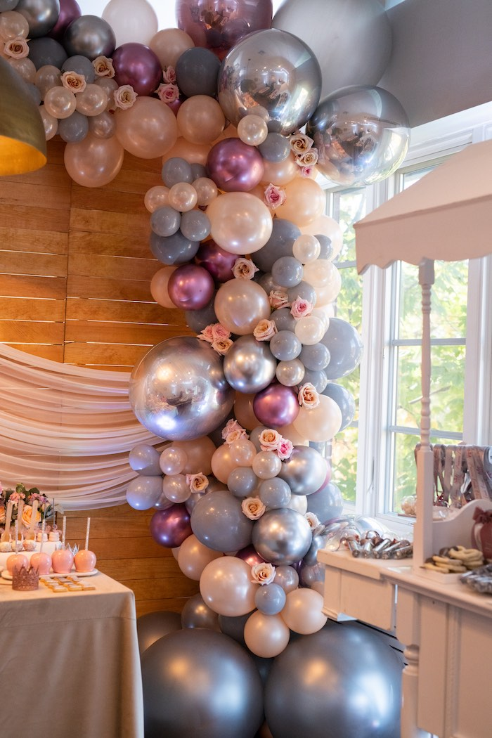 Floral-filled Balloon Garland from a Sweet Princess Birthday Party on Kara's Party Ideas | KarasPartyIdeas.com (18)