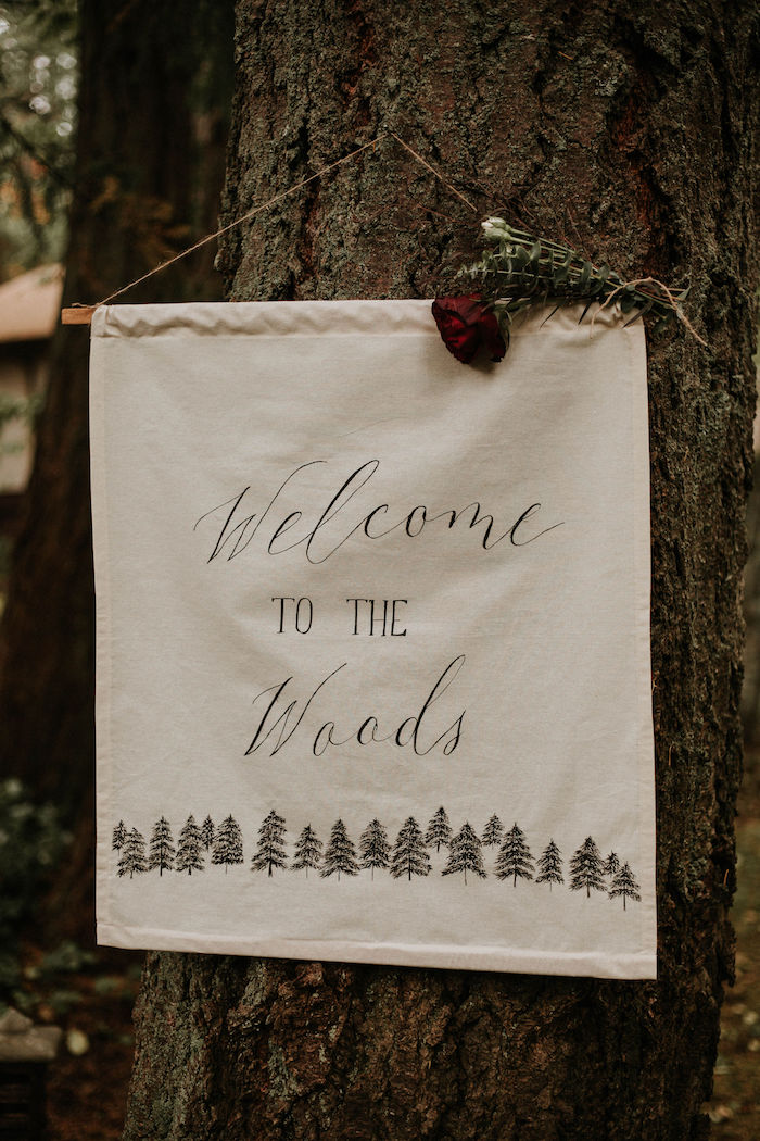 Welcome To The Woods Banner Sign from a Teddy Bear's Picnic Baby Shower on Kara's Party Ideas | KarasPartyIdeas.com (6)