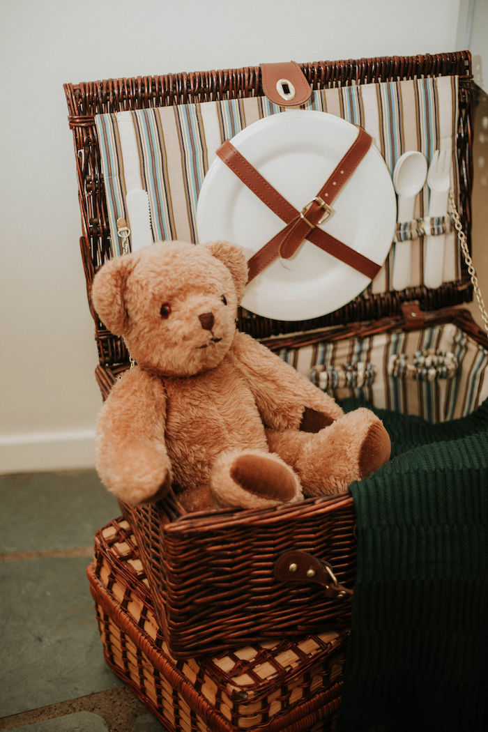 Teddy Bear + Picnic Basket from a Teddy Bear's Picnic Baby Shower on Kara's Party Ideas | KarasPartyIdeas.com (25)