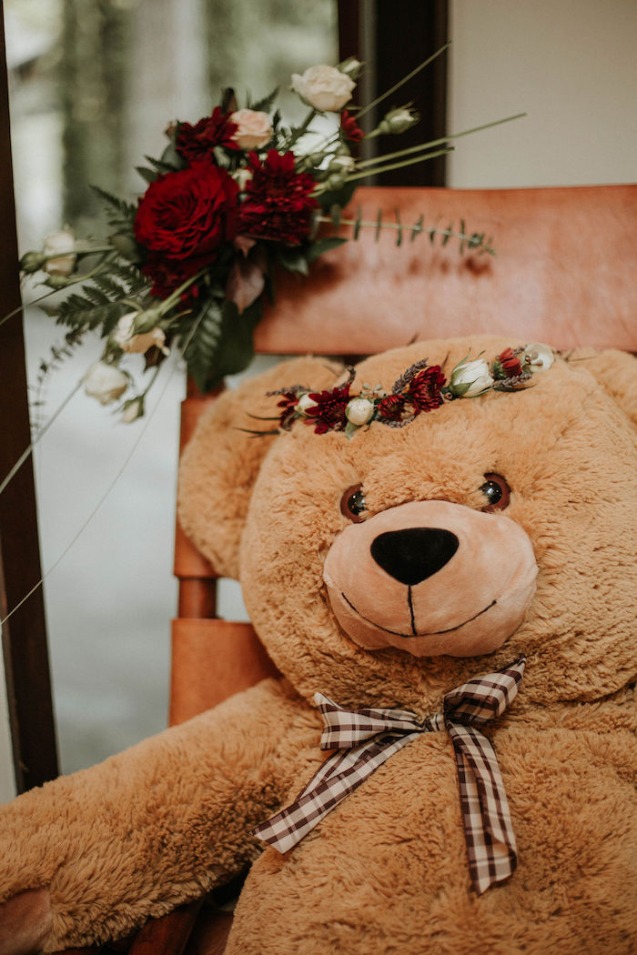 Floral-crowned Teddy Bear from a Teddy Bear's Picnic Baby Shower on Kara's Party Ideas | KarasPartyIdeas.com (24)