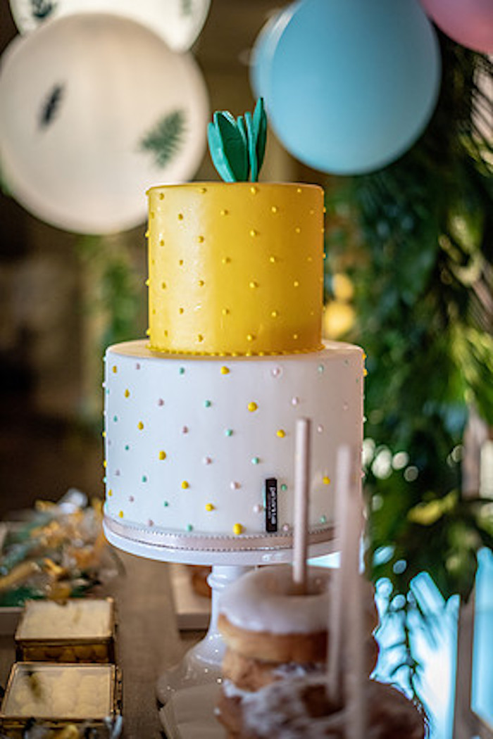 Pineapple-inspired Cake from a Tropical Pineapple Birthday Party on Kara's Party Ideas | KarasPartyIdeas.com (6)
