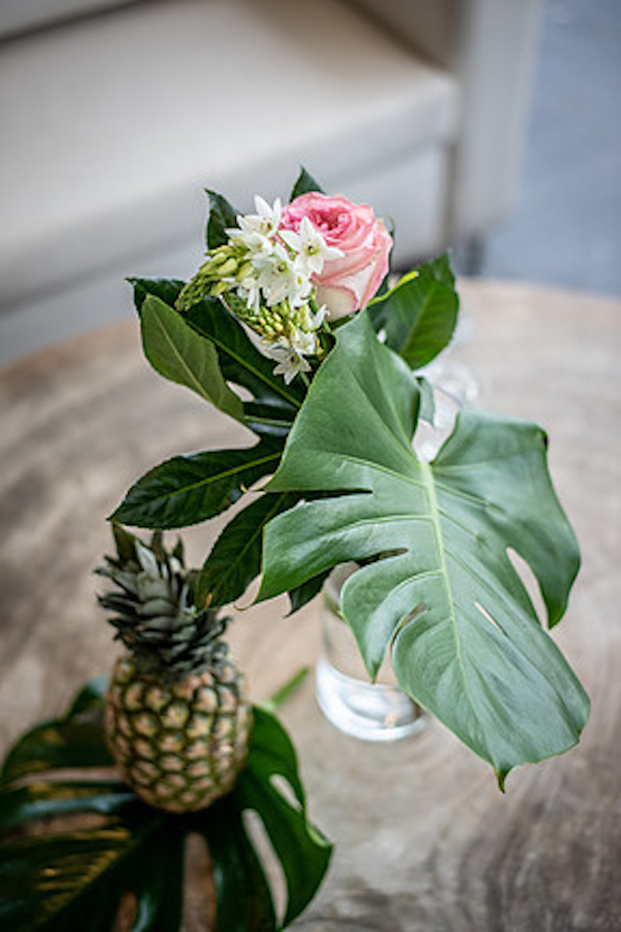Tropical Table Centerpiece from a Tropical Pineapple Birthday Party on Kara's Party Ideas | KarasPartyIdeas.com (4)