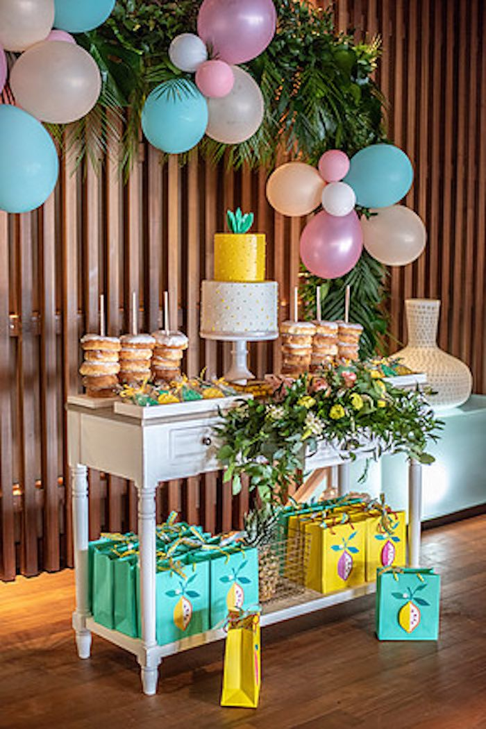 Tropical Dessert Table from a Tropical Pineapple Birthday Party on Kara's Party Ideas | KarasPartyIdeas.com (15)
