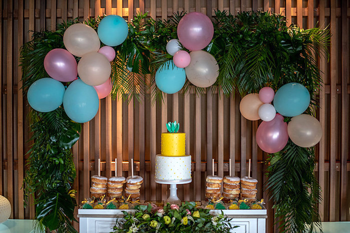Pineapple Themed Dessert Table from a Tropical Pineapple Birthday Party on Kara's Party Ideas | KarasPartyIdeas.com (13)