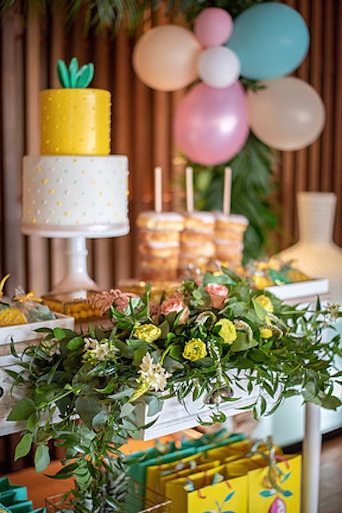 Tropical Blooms from a Tropical Pineapple Birthday Party on Kara's Party Ideas | KarasPartyIdeas.com (8)