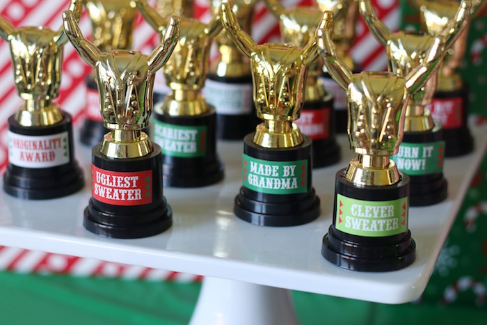 Ugly Sweater Party-Trophies from a DIY Ugly Sweater Holiday Party on Kara's Party Ideas | KarasPartyIdeas.com