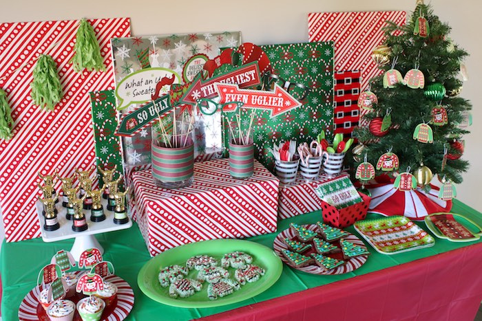 Ugly Sweater-inspired Dessert Table from a DIY Ugly Sweater Holiday Party on Kara's Party Ideas | KarasPartyIdeas.com