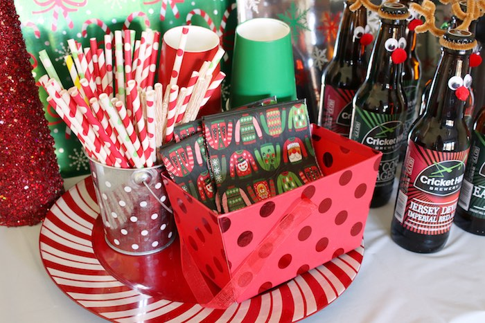 Ugly Sweater-inspired Drinkware from a DIY Ugly Sweater Holiday Party on Kara's Party Ideas | KarasPartyIdeas.com