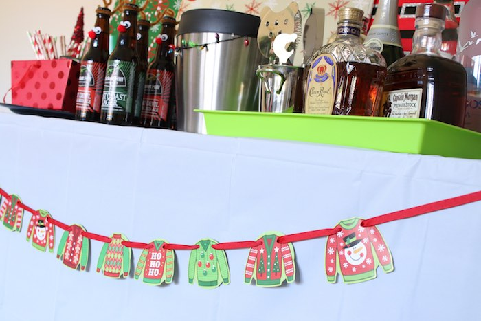 Ugly Sweater Garland from a DIY Ugly Sweater Holiday Party on Kara's Party Ideas | KarasPartyIdeas.com