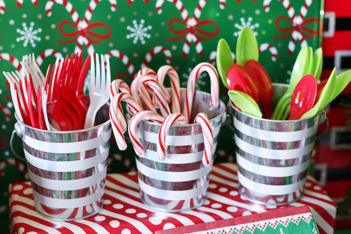Candy Canes & Cutlery from a DIY Ugly Sweater Holiday Party on Kara's Party Ideas | KarasPartyIdeas.com