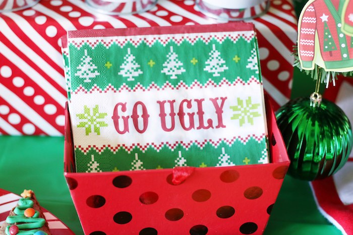 Ugly Sweater-inspired Go Ugly Napkins from a DIY Ugly Sweater Holiday Party on Kara's Party Ideas | KarasPartyIdeas.com