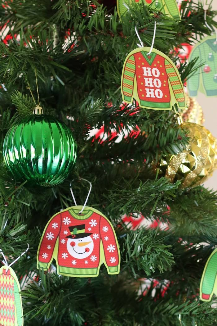 Ugly Sweater Tree Ornaments from a DIY Ugly Sweater Holiday Party on Kara's Party Ideas | KarasPartyIdeas.com