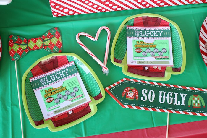 Ugly Sweater Party Favors from a DIY Ugly Sweater Holiday Party on Kara's Party Ideas | KarasPartyIdeas.com