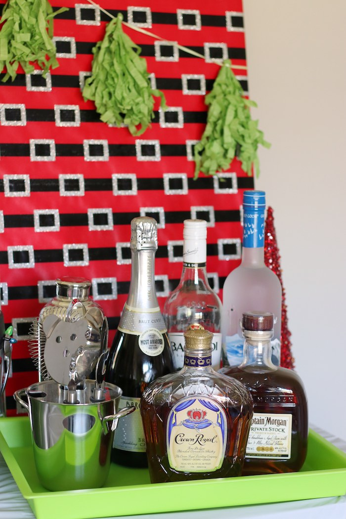 Beverage Bar from a DIY Ugly Sweater Holiday Party on Kara's Party Ideas | KarasPartyIdeas.com