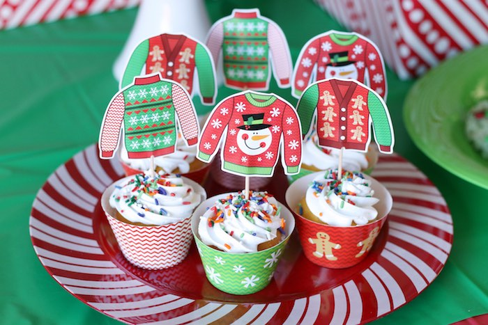 Ugly Sweater-inspired Cupcakes from a DIY Ugly Sweater Holiday Party on Kara's Party Ideas | KarasPartyIdeas.com