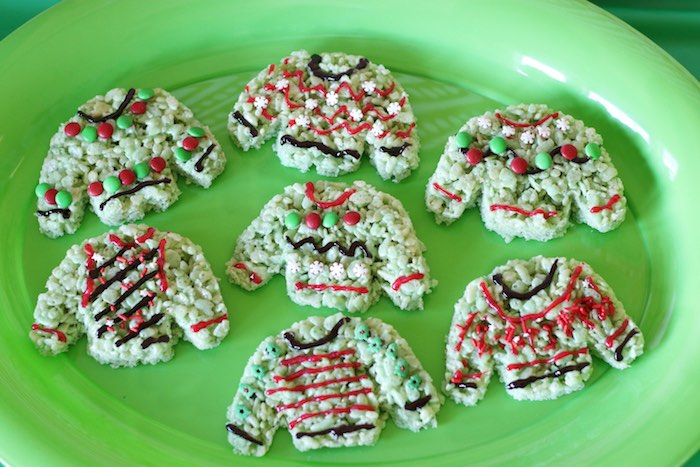 Ugly Sweater Rice Krispie Treats from a DIY Ugly Sweater Holiday Party on Kara's Party Ideas | KarasPartyIdeas.com