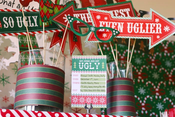 Ugly Sweater Party Invite from a DIY Ugly Sweater Holiday Party on Kara's Party Ideas | KarasPartyIdeas.com