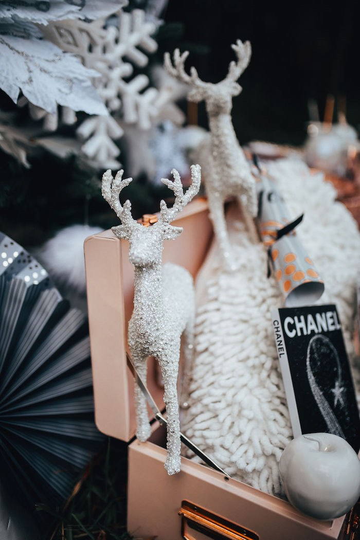 White Stag Decoration from a Whimsical Christmas Wonderland Party on Kara's Party Ideas | KarasPartyIdeas.com (27)