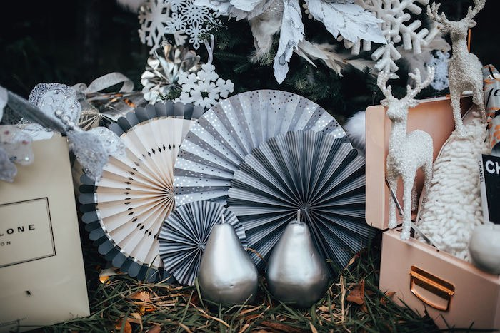 Paper Fans & Silver Pears from aWhimsical Christmas Wonderland Party on Kara's Party Ideas | KarasPartyIdeas.com (26)