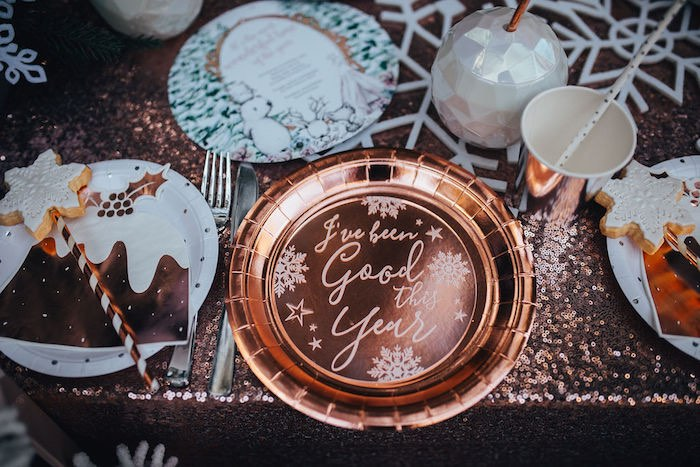 Copper Christmas Plate + Table Setting from a Whimsical Christmas Wonderland Party on Kara's Party Ideas | KarasPartyIdeas.com (37)