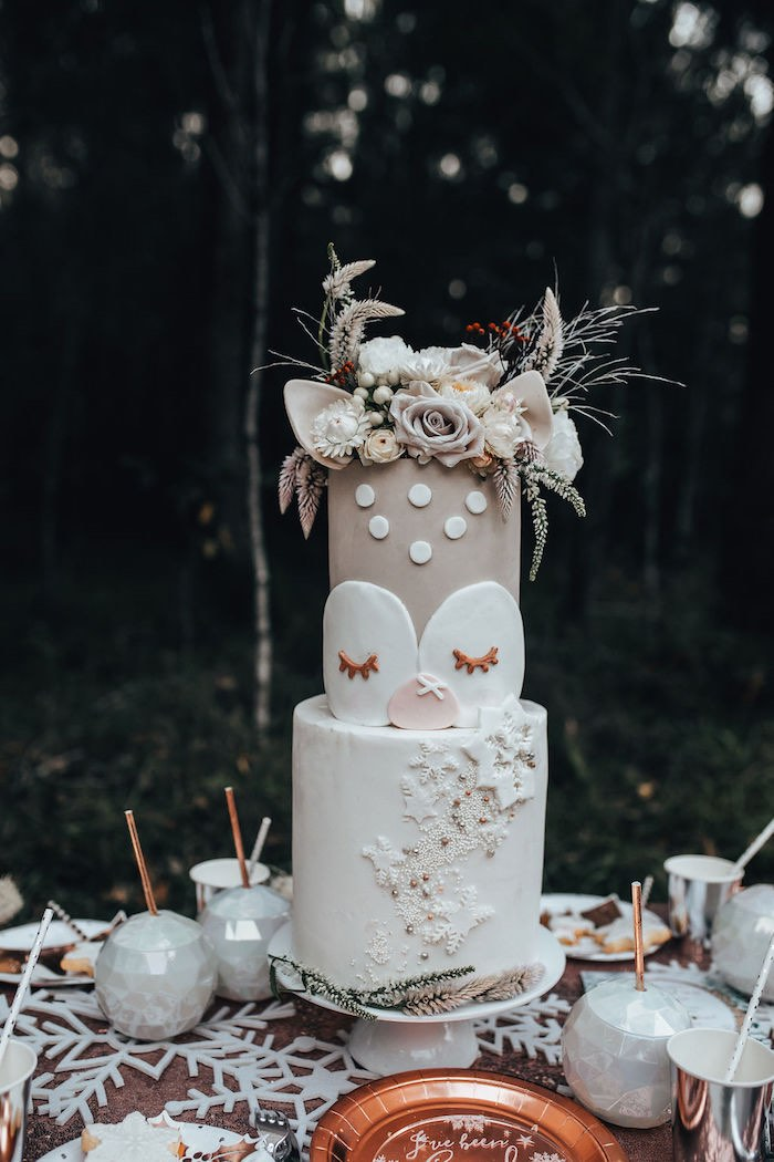 Floral Winter Deer Cake from a Whimsical Christmas Wonderland Party on Kara's Party Ideas | KarasPartyIdeas.com (9)