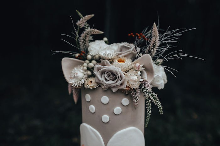 Floral Antler Cake Top from a Whimsical Christmas Wonderland Party on Kara's Party Ideas | KarasPartyIdeas.com (7)