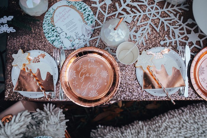 Copper + White Christmas Table Settings from a Whimsical Christmas Wonderland Party on Kara's Party Ideas | KarasPartyIdeas.com (34)