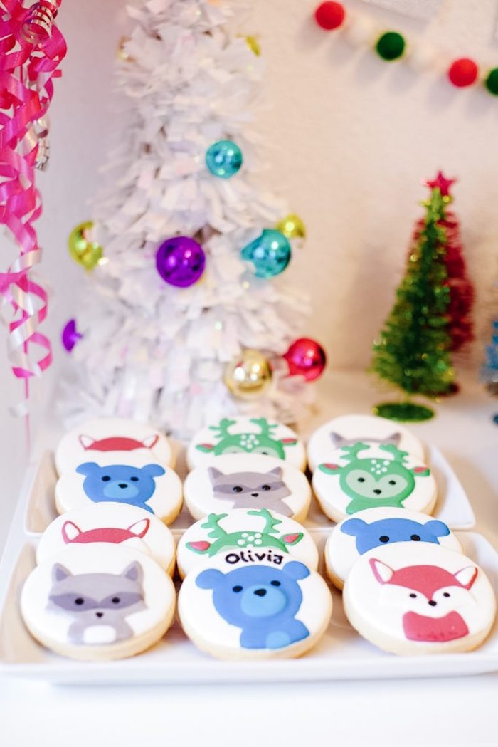 Woodland Anima in Winter Cookies from a Woodland Winter Wonderland Birthday Party on Kara's Party Ideas | KarasPartyIdeas.com (6)