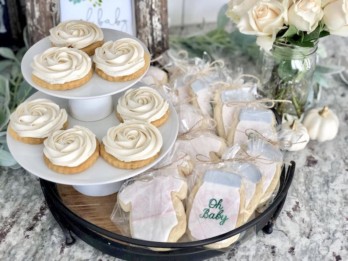 Cookies from a Rustic Elegant Farmhouse Baby Shower on Kara's Party Ideas | KarasPartyIdeas.com