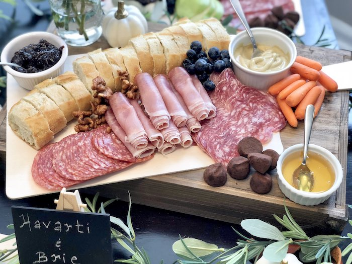 Charcuterie Board from a Rustic Elegant Farmhouse Baby Shower on Kara's Party Ideas | KarasPartyIdeas.com