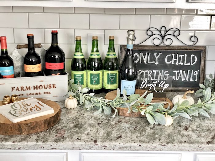 Drink Station from a Rustic Elegant Farmhouse Baby Shower on Kara's Party Ideas | KarasPartyIdeas.com
