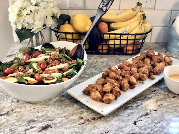 Nuggets & Salad from a Rustic Elegant Farmhouse Baby Shower on Kara's Party Ideas | KarasPartyIdeas.com