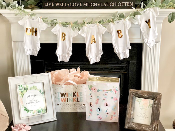 Onesie Banner from a Rustic Elegant Farmhouse Baby Shower on Kara's Party Ideas | KarasPartyIdeas.com