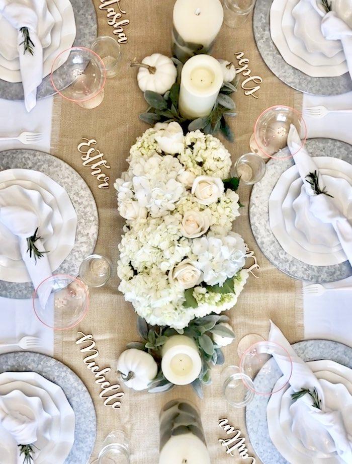 Overhead Tablescape from a Rustic Elegant Farmhouse Baby Shower on Kara's Party Ideas | KarasPartyIdeas.com