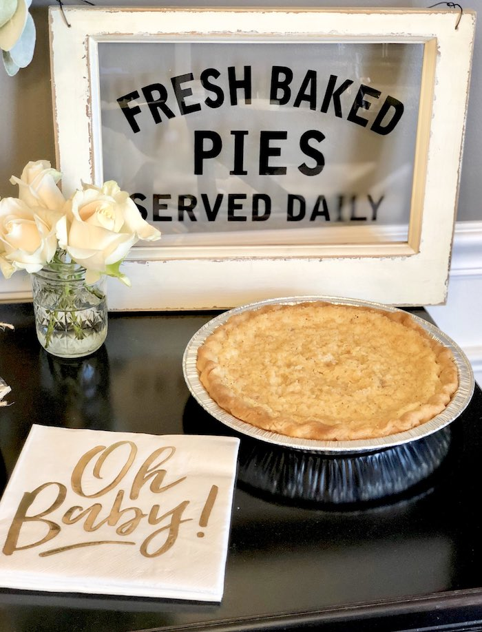 Fresh Baked Pies Sign from a Rustic Elegant Farmhouse Baby Shower on Kara's Party Ideas | KarasPartyIdeas.com